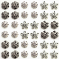 100 Assorted 9-15mm Antique Silver Bead Cap
